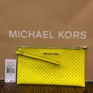 Michael Kors clutch wristlet neon yellow leather